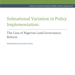 New Publication Announcement: NSSP Working Paper Explores the Implementation of Land Governance Reforms in Nigeria