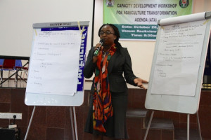 Dr. Yemisi Kuku-Shittu, Associate Research Fellow, sharing the capacity needs of research institutes.Photo: ©IFPRI/Ian Masias