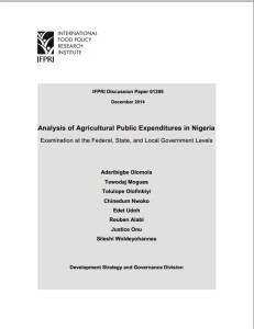 Analysis of Agricultural Public Expenditures in Nigeria
