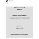 New Publication:  Irrigation Potential in Nigeria: Some Perspectives Based on Factor Endowments, Tropical Nature, and Patterns in Favorable Areas
