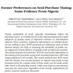New Journal Publication: Farmer Preferences on Seed Purchase Timing: Some Evidence from Nigeria