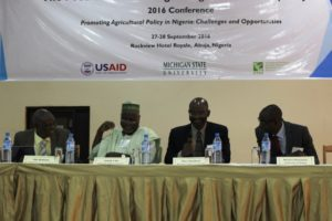 From Left to Right: Prof. Olu Ajakaiye Executive Chairman, African Center for Shared Development Capacity Building; Prof. Ismail Ilu, Executive Director, National Agriculture Extension and Research Liaison Services, Ahmadu Bello University; Prof. titus Awokuse, chair, Department of Agricultural Economics, Michigan State University; and Prof. Bolarin Omonona, University of Ibadan during the plenary session on Capacity Building for Agricultural Research and Policy in Nigeria.