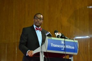 AfDB's President Akinwumi Adesina delivering his keynote address
