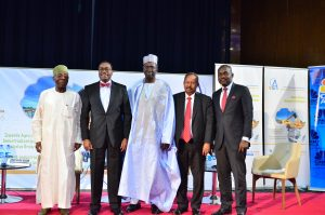 Panelists in the Opening Plenary Session of the conference; from left to right: HMA Chief Audu Ogbeh, AfDB's President Dr. Akinwumi Adesina, UN Assistant Secretary General and Director of UNDP's Regional Bureau for Africa Mr. Abdoulaye Mar Dieye, the Acting Executive Secretary of the UN Economic Commission for Africa Mr. Abdalla Hamdok, and Mr. Wole Famurewa, Journalist CNBC Africa and Moderator of the session