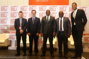 The panelists at the end of the main roundtable of the Conference. From left to right: P. Wallace (Bloomberg LP), G. Mavrotas (IFPRI), O. Okiti (Time Economics), A. Abdulhammeed (NIRSAL) and D. Oni (Ecobank Group).