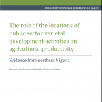 New Publication Announcement: NSSP Working Paper on the Links between the Location of Public Sector Varietal Development Activities and Agricultural Productivity